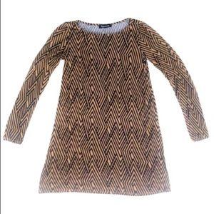 Boho 70's Style Geometric Print Tunic Dress - XS